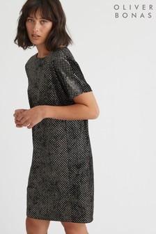 שמלה עם נצנצים של Oliver Bonas דגם Nikina Honeycomb בשחור