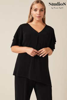 Studio 8 Black Jersey Cassie Sparkle Top