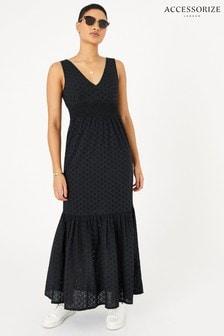 Accessorize Black Broderie Maxi Dress