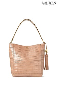 Lauren Ralph Lauren® Nude Croc Leather Adley Tote Bag