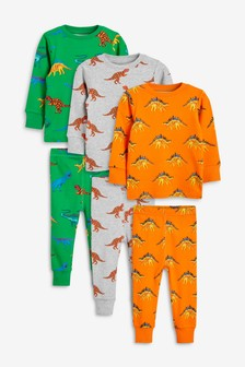 3 Pack Bright Dino Printed Pyjamas (9mths-8yrs)