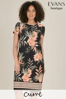 Evans Curve Black Floral Border Print Swing Dress