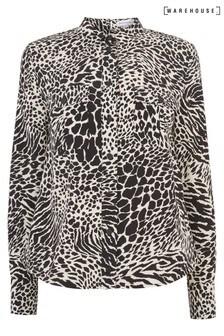 Warehouse Black Mixed Animal Utility Shirt