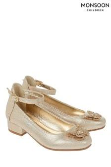 Monsoon Gold Fluttering Butterfly Mini Heel Shoes