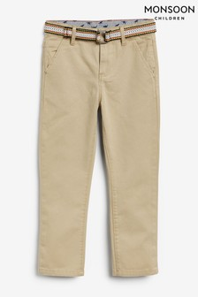 Monsoon Cream Stone Belted Chino Trousers