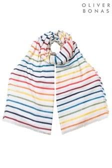 Oliver Bonas All Over Rainbow Stripe Scarf