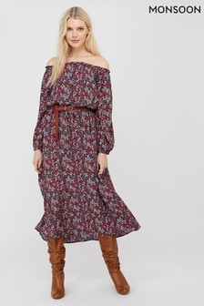 Monsoon Red Ivy Printed Sustainable Viscose Dress