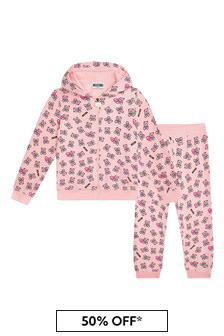 Baby Girls Pink Cotton Tracksuit