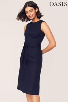 Oasis Blue High Neck Midi Dress