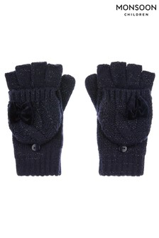 Monsoon Recycled Navy Sparkle Velvet Bow Gloves