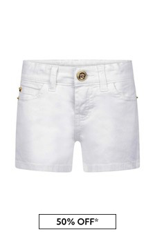 Versace Girls White Cotton Shorts
