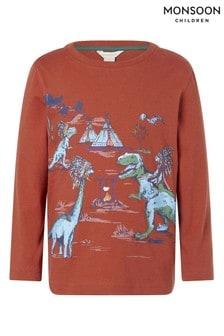 Monsoon Red Dinosaur Scene T-Shirt