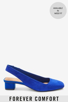 Leather Slingback Block Heel Shoes