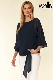 Wallis Blue Ink Tie Side Overlayer Blouse