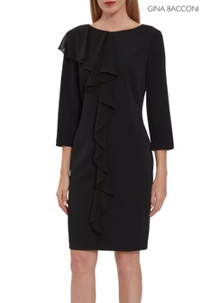 Gina Bacconi Black Thandie Crepe And Chiffon Dress