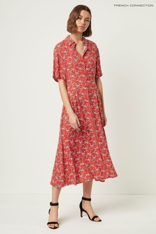 French Connection Red Cerisier Rayon Short Sleeve Shirt Dress