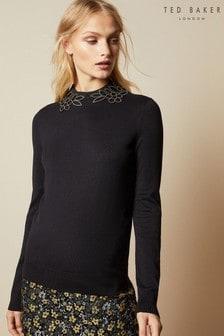 Czarny zdobiony sweter Ted Baker