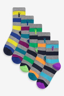 5 Pack Cotton Rich Stag Embroidered Socks (Older)