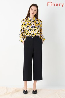 Finery London Black Bristol Front Pleat Trousers