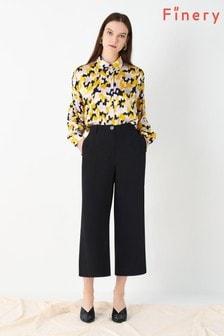 Finery London Black Bristol Front Pleat Trousers