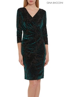 Gina Bacconi Green Liara Velvet Wrap Dress
