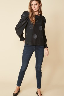 Spot Jacquard Volume Sleeve Blouse
