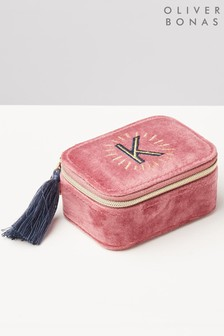 Oliver Bonas Sol Pink Velvet Alphabet K Travel Jewellery Box