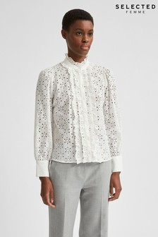 Selected Femme White Cotton Broderie Anglaise Blouse