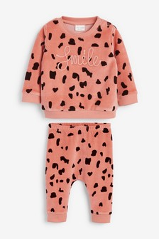 2 Piece Slogan Velour Set (0mths-2yrs)