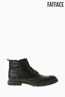 FatFace Black Bawtry Buckle Lace-Up Boots