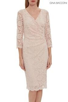 Gina Bacconi Pink Clarinell Stretch Lace Dress