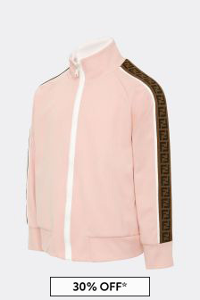 Fendi Kids Girls Pink Cotton Zip Up Top