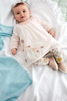 Floral Blouse, Leggings And Headband Set (0mths-3yrs)