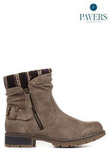Pavers Natural Taupe Ladies Water Resistant Ankle Boots