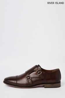 River Island Brown Roger Monk Strap Shoes