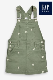 Gap Daisy Embroidered Denim Dungaree Dress