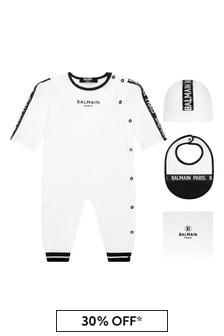 Balmain Baby Boys White Cotton Babygrow