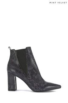 Mint Velvet Jordan Blue Snake Ankle Boots