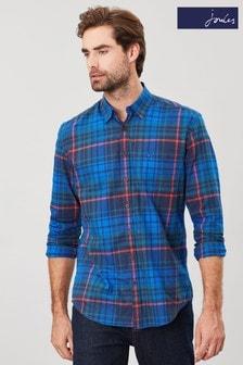 Joules - Welford - Camicia classica a manica lunga in tessuto spazzolato blu
