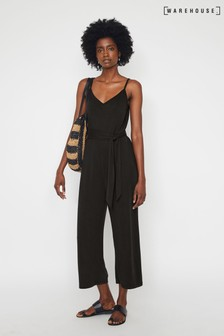 Warehouse Black Modal Wide Leg Cami Jumpsuit