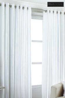 Riva Home White Fiji Faux Silk Eyelet Curtains