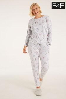 F&F Grey Penguin Print Pyjamas