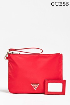 Guess Red Clutch Detachable Strap With Little Mirror Clutch Bag