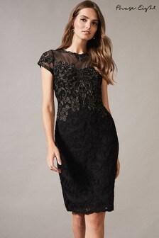 Phase Eight Black Zandra Tapework Dress