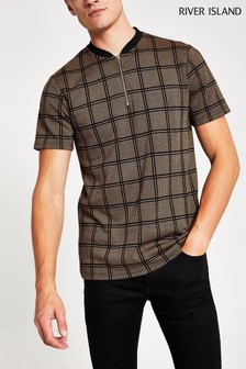 River Island Tan Check Baseball Polo