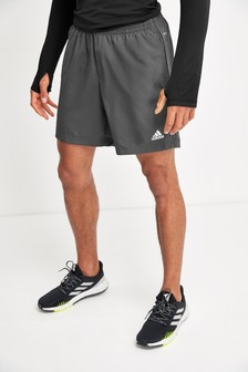 adidas Grey Run It 3 Stripe Shorts