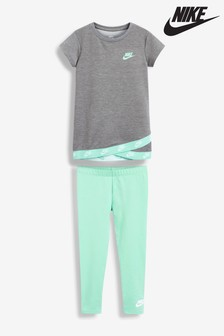 Nike Little Kids Turquoise/Grey Futura T-Shirt And Leggings Set