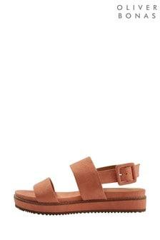 Oliver Bonas Brown Apricot Double Suedette Flatform Sandals