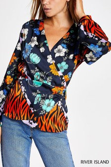River Island Red Print Wallace Blouse