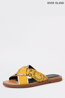 River Island Yellow Hardware Mule